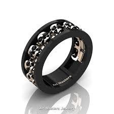 skull wedding rings mens modern 14k black and gold black diamond skull channel