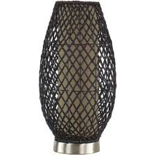 Accent Table Lamp Hometrends Dark Brown Rattan Accent Table Lamp With Fabric Lining