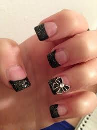 acrylic nails black tips with bow nails pinterest acrylics