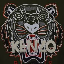 large discount kenzo shop khaki orange tiger logo sweatshirt