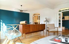 deco salon et cuisine ouverte deco salon cuisine ouverte élégant mur bleu canard bleu