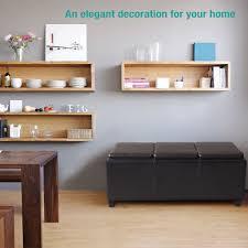 Living Room Storage Bench Folding Dark Brown Leather Storage Bench Ottoman With Trays U2013 Ec