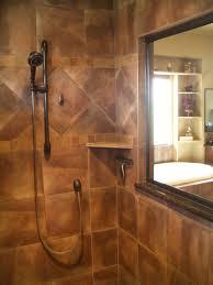 glass shwoer cabin partition wall corner bathtub with black faucet bathroom shower medium size mirror with brown wooden frame shower head corner shelve standalone bathtub towelshelf