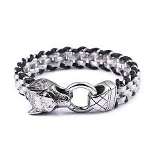men steel bracelet images 13mm 21 5cm 8 5 quot new fashion wolf head punk stainless steel jpg