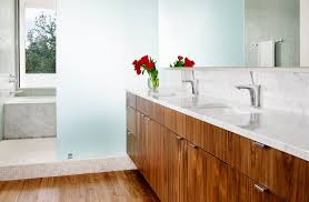 Modern Walnut Bathroom Vanity by Frosted Glass Walls With Wood Drawers Bathroom Modern And
