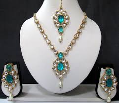 necklace set blue stone images White drop sky blue stone necklace set JPG