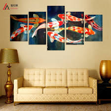 online get cheap large modern paintings aliexpress com alibaba 5 panel canvas prints koi fish art chinese painting printed home decoration modern large picture on