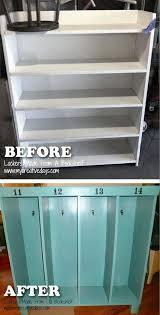 diy kids lockers turn an bookshelf into a locker for kids coats and backpacks