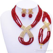 red crystal bead necklace images 2018 fashion african wedding beads jewelry set red crystal jpg
