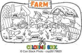 vector illustration coloring book farm animals