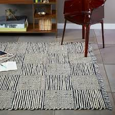 Black Jute Rug And Ivory Grid Leather Jute Rug