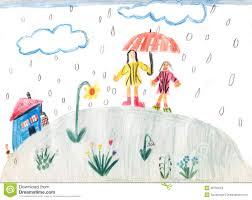 a rainy day children drawing royalty free stock photos image