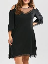dresses black 4xl plus size mesh insert cold shoulder