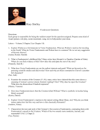 100 study guide questions frankenstein frankenstein lesson