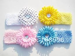 crochet bands 60pcs mix color flower headband baby children kid hairband hair