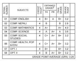 letter grading system in slc results
