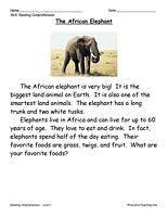 reading passage 1st grade grade reading comprehension worksheet the elephant