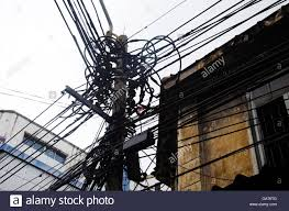 Messy Wires Many Wires Messy With Power Line Cables Transformers And Phone