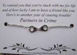 Halloween Friendship Poems Handcuff Partners In Crime Bracelet Friendship Bracelet