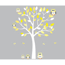 Yellow And Gray Wall Decor by Yellow And Grey Owl Wall Art With White Tree Wall Decal For Girls