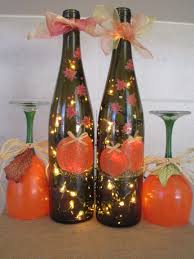 fall thanksgiving painted pumpkin leaves lighted wine