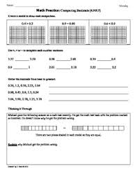 4 nf 7 comparing decimals 4th grade common core math worksheets
