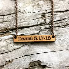 daniel 3 17 18 personalized horizontal cherrywood bar necklace