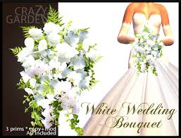 White Wedding Bouquets Second Life Marketplace Crazy Garden Wedding Store By Arnel Choche
