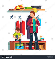 father getting dressed putting on jacket stock vector 700213432