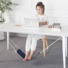 office home desk foot hammock foot rest stand novelty item blue