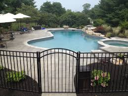 exterior marvelous iron fence idea for your backyard pool design