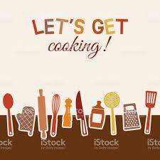 menu or recipe book design set of kitchen utensils stock vector