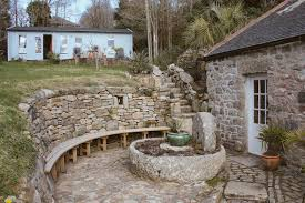 Curved Garden Wall by Garden Bench Hand Made From Solid Oak In West Cornwall Samuel F