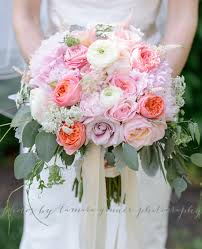 ribbon streamers pink blush and ivory bridal bouquet garden peony