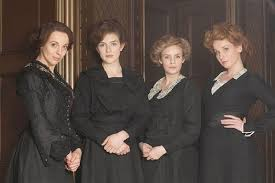 hairstyles and clothes from mr selfridge the shop girls in the accessories department in mr selfridge