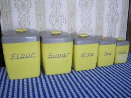 yellow kitchen canister set retro vintage nally ware canister set qty 5 grey yellow 1950