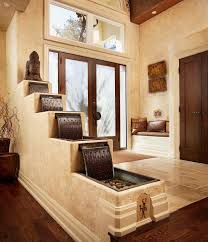 architecture rustic entry plus aquatic and built in bench with