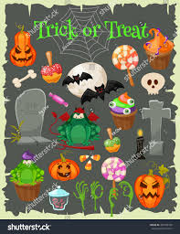 trick treat halloween icons isolated grunge stock vector 495705739