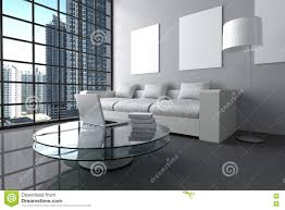 Living Room Glass Table 3d Rendering Illustration Of Modern Interior White Minimalism