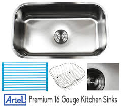 16 Gauge Kitchen Sink by Ariel Pearl 30 Inch Premium 16 Gauge Stainless Steel Undermount