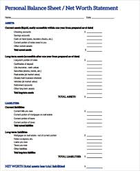 personal balance sheet 7 examples in word pdf