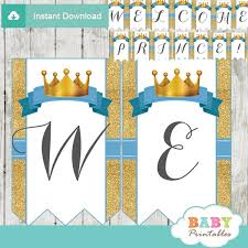 prince baby shower blue and gold royal prince baby shower banner d270 baby printables