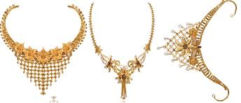 gold flower necklace designs images Latest 22k yellow gold floral asymmetric necklace designs jpg