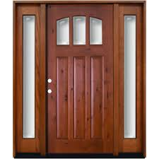 Knotty Alder Interior Door by Steves U0026 Sons 64 In X 80 In Craftsman 3 Lite Arch Stained Knotty