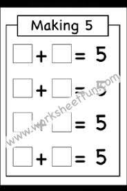 making 5 u2013 one worksheet first grade worksheets pinterest