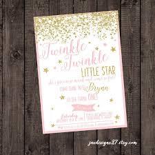 digital file twinkle twinkle little star pink birthday invitation