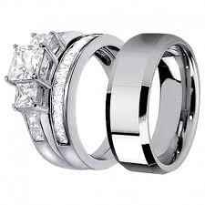 his and hers engagement rings his hers lovely 3pcs tungsten s matching band sterling