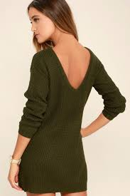 sweater dresses olive green dress sweater dress backless dress 58 00