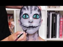cheshire cat halloween makeup tutorial real techniques youtube
