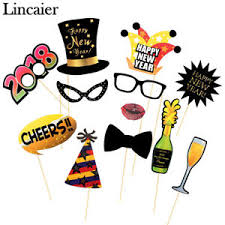 Happy New Year Decorations 12pcs 2018 Happy New Year Photo Booth Props Eve Party Decorations